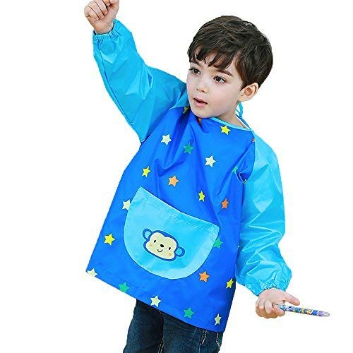 Hosim Children's Art Smock Long Sleeve Waterproof Painting Apron, Kids Lovely Monkey Artist Smocks Play Apron with Large Pocket, Ideal for Painting/Kitchen/Baking (S, Green) PAM-G-S