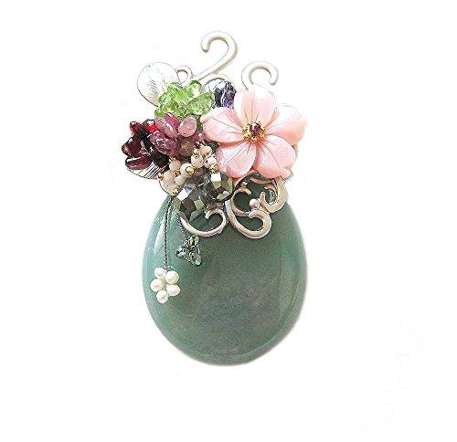 (Hanabe Women Handmade Jade Stone Mother of Pearl Flower Crystal Beaded Brooch Pin Pendant Convertible Green )