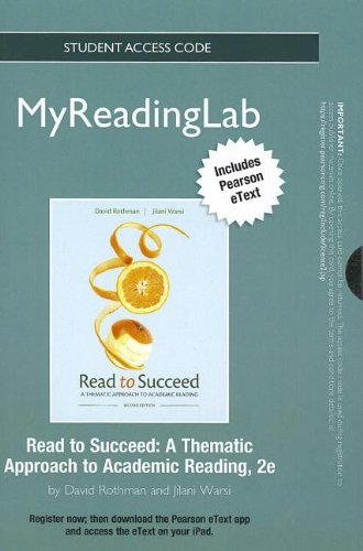 NEW MyReadingLab with Pearson eText -- Standalone Access Card -- for Read to Succeed: A Thematic Approach to Academic Re