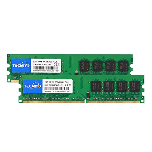 TECMIYO 4GB Kit (2x2GB) DDR2 667MHz PC2-5300 PC2-5300U Non ECC Unbuffered 1.8V CL5 2RX8 Dual Rank 240 Pin UDIMM Desktop Memory Ram Module