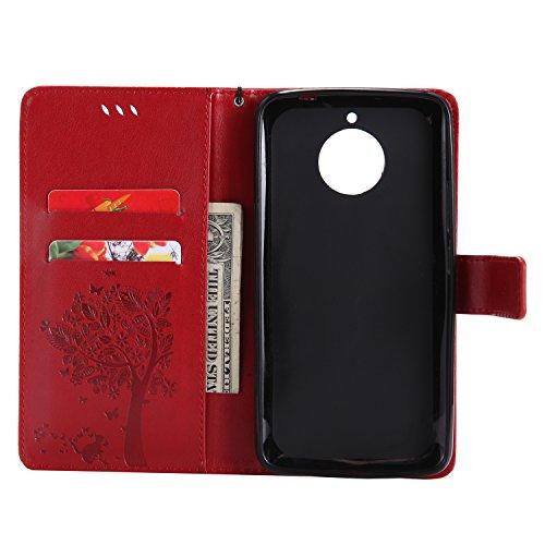 Motorola Moto E4 Flip Cuero Funda - Alta Calidad Cuero de la PU /Stent/Billetera/Paquete de Tarjetas/Proteccion Caso Cubrir para Motorola Moto E4(Rosa) Rojo