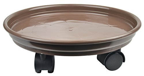 10.6'' Plant Stand Caddy,Round Plant Dolly Trolley Saucer Moving Tray Pallet on Wheels for Flowerpot,Brick Red,270 Count by Zhanwang