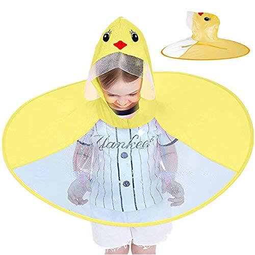 UFO impermeabile, cappello ombrello per bambini, carino anatra gialla per bambini, impermeabile impermeabile con cappuccio mantello impermeabile per bambini e bambine