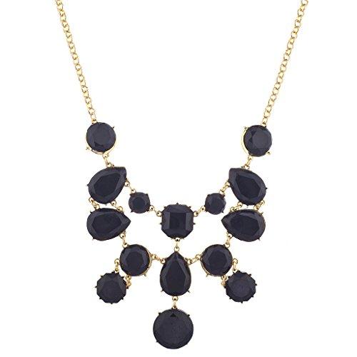 (Lux Accessories Goldtone Black Acrylic Geo Stone Waterfall Statement Necklace)