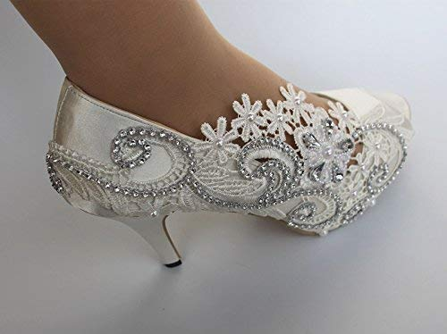 Amazon Com 3 Heel Satin New Fathion White Ivory Lace Pearls Open