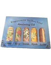 Set of 5 Roll-On Anointing Oils Jasmin Myrrh Musk Nard and Rose from Jerusalem