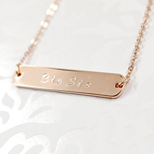 [A Delicate Name Bar Necklace - Dainty 16K Gold Rose Gold Silver -Plated Handstamped or Diamond Computer Engraving Letter Personalized Delicate Plate Initial Charms Necklace Bridesmaid] (Costume Design Online Classes)