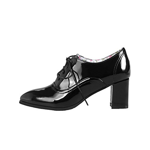Floral Shoes Lace Women's Leather up Pumps AmoonyFashion Black Patent qHBp7AWw