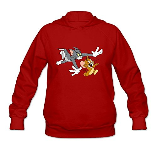 StaBe Women's Tom And Jerry Show Logo Long Sleeve Hoodies Sweatshirt Red Size L