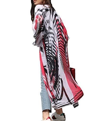 Women's Long Sheer Floral Kimono Cardigan, Chiffon Bikini Beach Cover up, Summer Blouse Loose Tops (B25-red Zebra)
