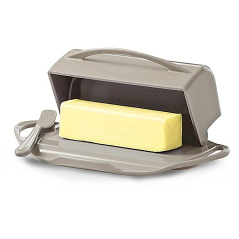 Simply Abundant Butterie Flip Top Butter Dish For Countertop or Refrigerator, BPA Free, Taupe unknown