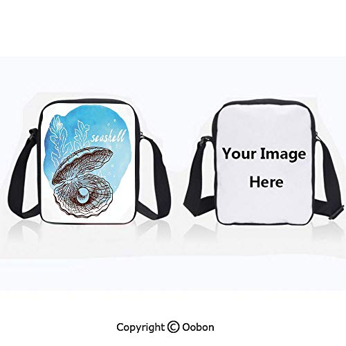 Polyester Anti-Theft Cross-Body Bag Unisex Adult Pearl in Clam Seashell and Seaweed Watercolor Art Style Painted Print Tropical Image Blue White Zipper Bucket Anti Theft Bag For Journey