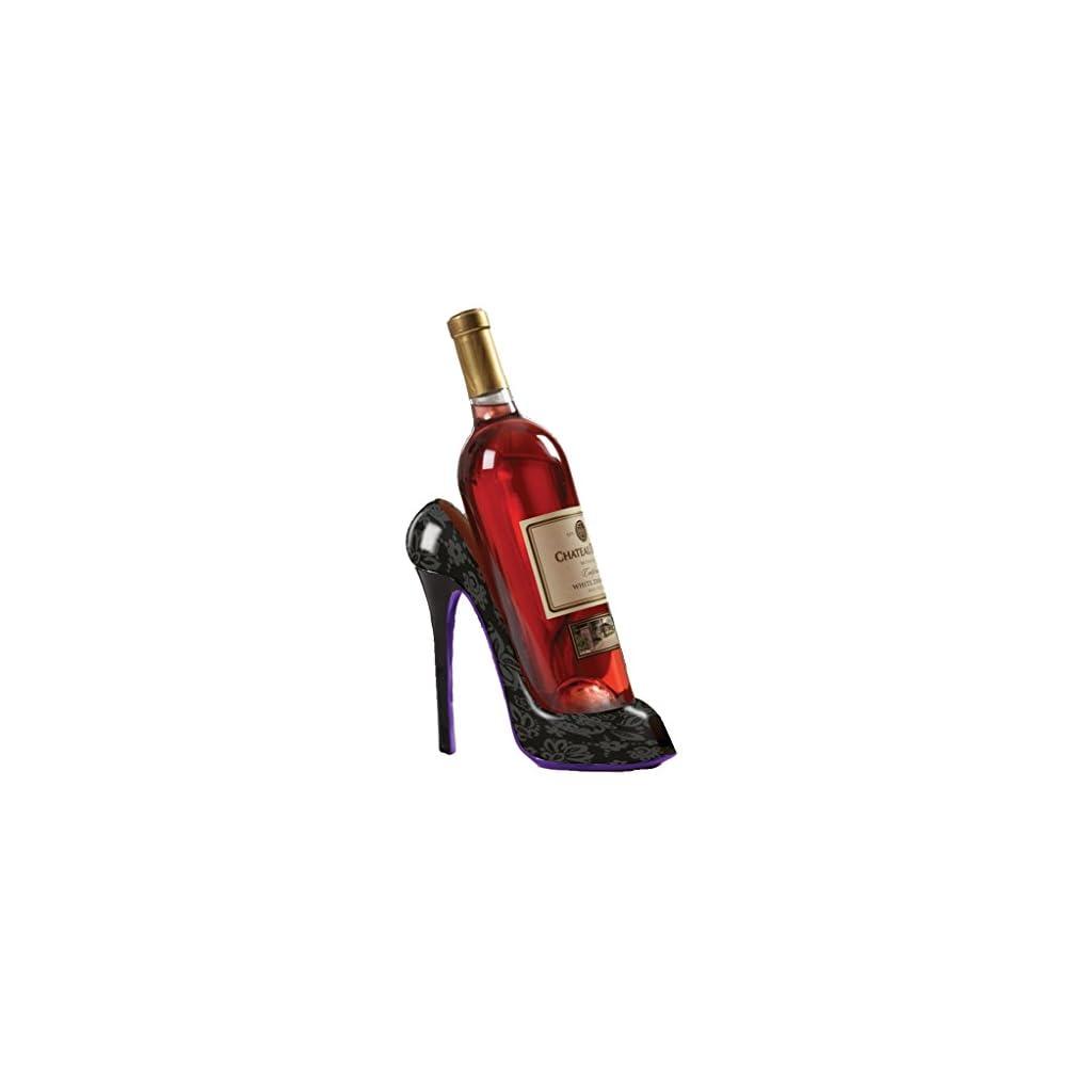 High Heel Shoe Wine Bottle Holder Stylish Wine Gift Baskets Accessories – Holds One 750 ml Wine Bottle – Black Design Print