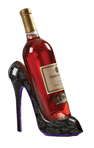 High Heel Shoe Wine Bottle Holder Stylish Wine Gift Baskets Accessories - Holds One 750 ml Wine Bottle - Black Design Print