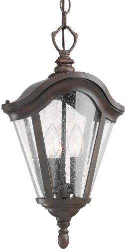 Kichler Lighting 9519TZG 3 Light Lafayette Outdoor Pendant, Tannery Bronze with Gold Accent (Hanging Outdoor Lafayette)