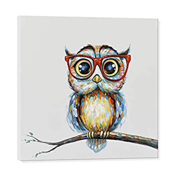 JAPO ART Owl Wall Decor Art Painting – Modern Animal 100 Hand Painted Oil Painting with Stretched Frame for Home Decoration from 24 x 24 , Mrs Owl
