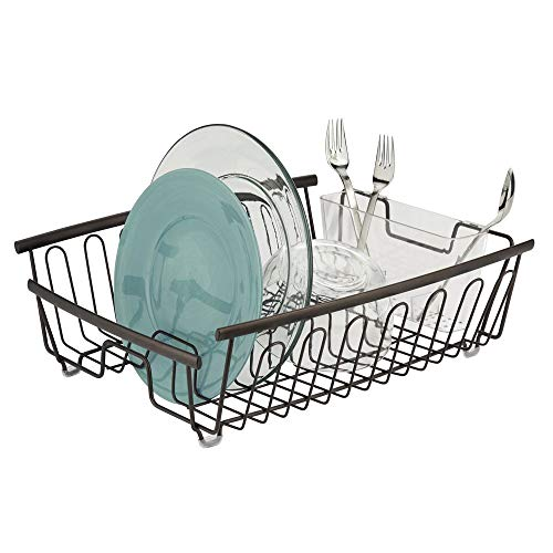 mDesign Large Kitchen Countertop, Sink Dish Drying Rack with Removable Cutlery Tray - Drain and Dry Wine Glasses, Bowls and Dishes - 2 Pieces, Bronze Metal Wire/Clear BPA Free Cutlery Caddy ()