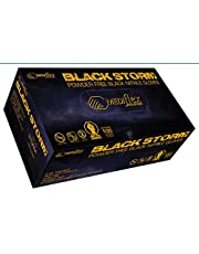 Mediflex Storm Heavy Duty Black Nitrile Gloves - Powder Free, Weight 6.5g, 0.15mm Thickness, 245mm Cuff Length, Micro Textured Fingertips, Latex Free, Non Sterile, Ambidextrous for Mechanical Repair, Beauty & Hair Salon, Tattoo Shops etc