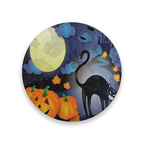 Coasters for Drinks,Halloween Pumpkin Cat Cloud Moon Castle House Ceramic Round Cork Trivet Heat Resistant Hot Pads Table Cup Mat Coaster-Set of 2 Pieces -