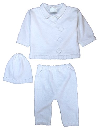 Cotton Knit Baby Boys 3 Piece Collared V-Neck Sweater Set with Pants & Cap 6 MO ()