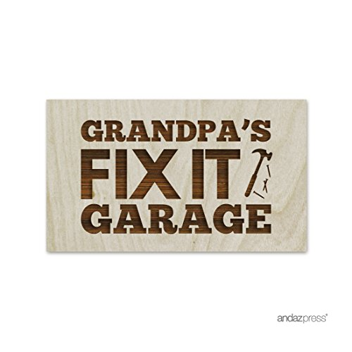 Andaz Press Laser Engraved Wood Table Sign, Grandpa's Fix It Garage, Rectangle Shape, 1-Pack, Grandfather Father's Day Christmas Birthday Gift Ideas