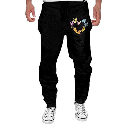 OL-Pant Men's Eevee Family Heart Workout Pants Size (Eevee Evolution Costumes)