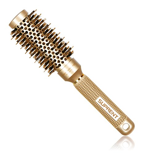 [Upgraded] SUPRENT Nano Thermal Ceramic & Ionic Round Barrel Hair Brush with Boar Bristle, Blowout Brush for Blow Drying, Curling &Straightening, Perfect Volume & Shine (2.4 Inch)