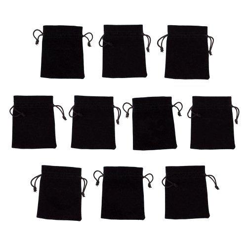 "10 Medium 3"" x 4"" Black Velour Pouches with Drawstrings by Wiz Dice by Wiz Dice"