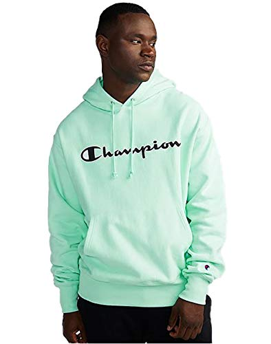 Champion Life Men's Reverse Weave Pullover Hoodie, Mesh & Leather Logo (XX-Large, Waterfall Green)