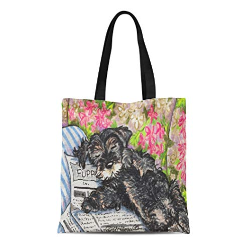 Semtomn Cotton Line Canvas Tote Bag Miniature Schnauzer Dreams Lover Dogs Cute Funny Reusable Handbag Shoulder Grocery Shopping Bags