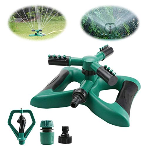JEI-MEN Garden Automatic Sprinkler 360 Degree Water Sprinkler 3-Arm Sprayer with Swivel (Green)
