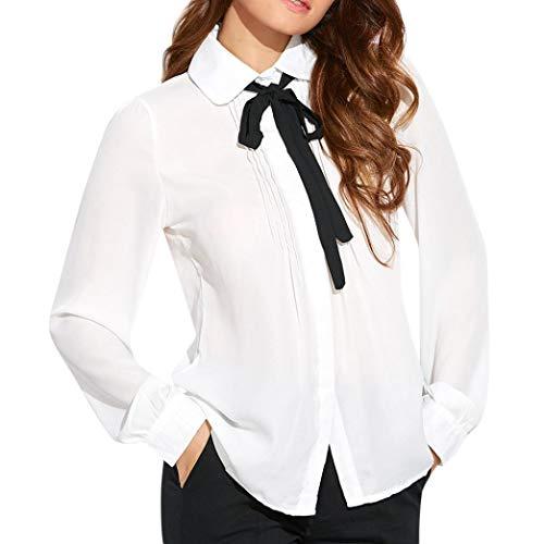 Bow Pink 24' (Orangeskycn Womens Turn Down Bow Collar Tie Long Sleeve Work T-Shirt Ladies Tops Blouse)
