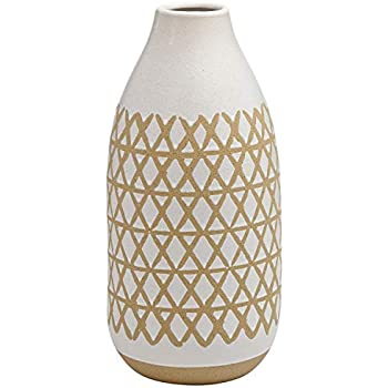 Stone & Beam Emerick Rustic Tall Stoneware Decor Vase with Geometric Pattern - 15 Inch, Brown and White