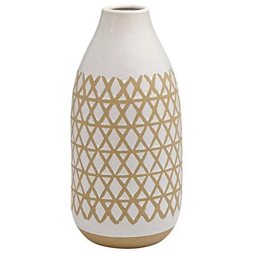 "Stone & Beam Emerick Rustic Stoneware Vase with Geometric Pattern, 14.96""H, Gray White"