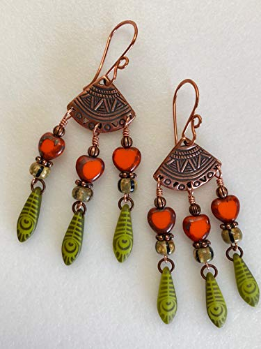 Chartreuse Orange Chandelier Earrings, Czech Glass Earrings, Vintage Picasso Beads, Tribal Copper Fan, Gypsy, Ethnic, Zen, Boho.