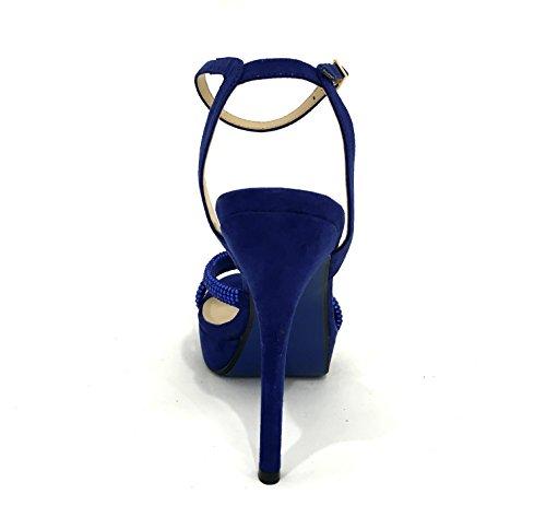 Strass Élégants Satin Sandal Blue Avec Mariage Diamonds Bleu Talons Heel Whith Plateau Awaysandal RZCIqI