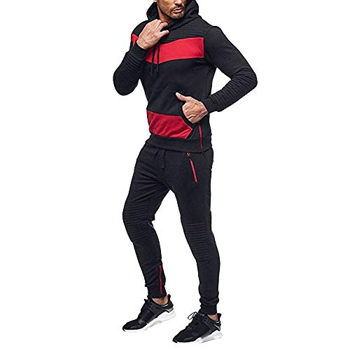 Bazhahei De Joggers Pantalon À Survêtement Ensemble Homme Jogging Suit Noir Capuche Sport Gym Hoodie Sweatshirt CqTOHRa