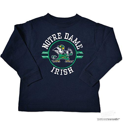 NCAA Notre Dame Fighting Irish Toddler Long Sleeve Tee, 2 Toddler, Navy