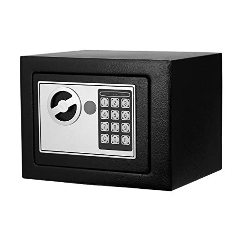 - Digital Electronic Safe Security Box Fireproof Wall-Anchoring Safe Deposit Box for Money Jewelry Cash Batteries - US Stock (Black)