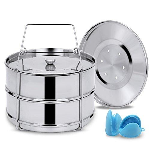 Instant Pot Insert Pans,Pressure Cooker Insert Pans for Instant Pot Accessories (6/8qt),Stackable Steamer Insert Pans for Pressure Cooker with Sling&2 Interchangeable Lids