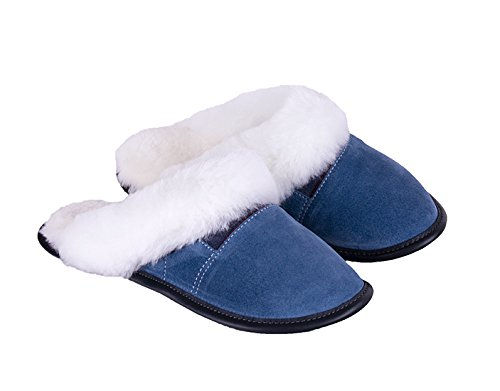 1fdc42228d5 Garneau Slippers Women s 2 Color Heads Monet Blue Sheepskin And Suede Clogs  And Mules Shoes Xs