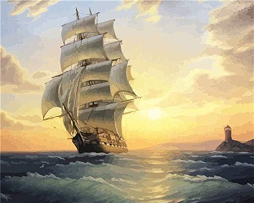 DIY oil painting 手塗りのDIYギフトホームデコレーション絵画番号船舶番号風景ウォールアートオイルの絵画 (Color : SZGD1 486, Size : 50x40CM)