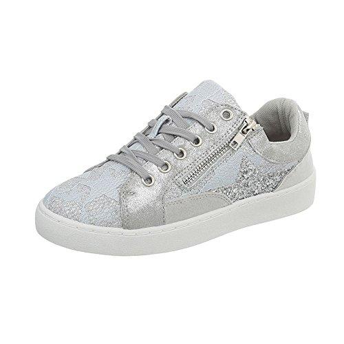 Ital-Design Sneakers Low Damen-Schuhe Schnürsenkel Freizeitschuhe Weiß, Gr 40, 88016-