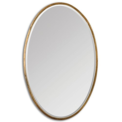 Thin Frame Gold Oval Wall Mirror | Classic Contemporary Vanity ()