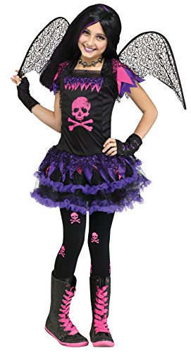 Girls Pink Skull Fairy Kids Child Fancy Dress Party Halloween Costume, M (Skull Fairy Halloween Costume)