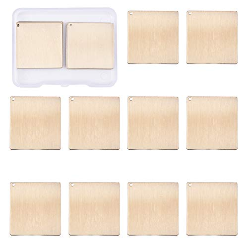 Square Gold Charm - BENECREAT 10 Pack Stamping Blanks Brass Blank Pendants for Bracelet Earring Pendant Charms Dog Tags - 1.18x1.18, Square Shape
