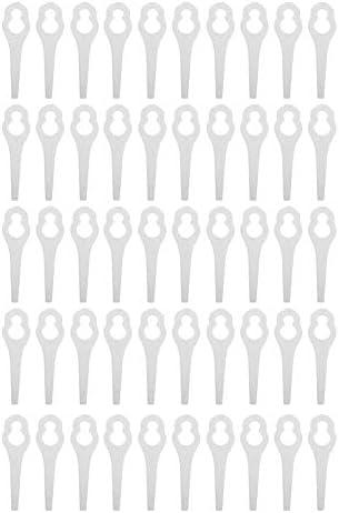 Rasentrimmermesser, Rasenmäherzubehör aus Kunststoff, Sägeblatt-Unkrautentfernungsteile, 50er-Pack(White)