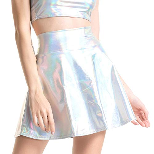 Quesera Women's Metallic Skirt Pleated Dance A-Line Flared Wet Look Mini Skirts, White, Tag Size L=US Size M