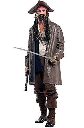 Mens Premium Deluxe 8 Piece Pirate Jack Film Halloween Fancy Dress Costume Outfit S-XL (Large)