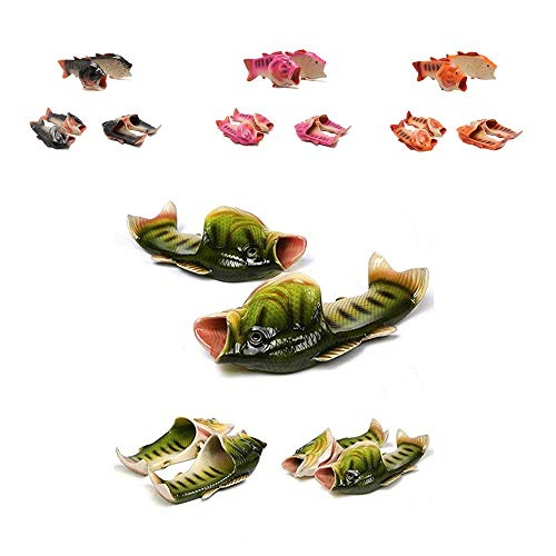 HEEMAA - 4 Colours Fish Slippers Beach Shoes Non-Slip Sandals Creative Fish Slippers Men Women Casual Shoe (Woman 12.5-13.5 / Male 11.5-12.5, Green) by HEEMAA